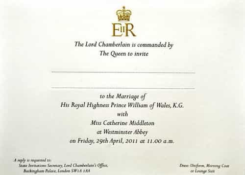 kate middleton wedding date. Royal Wedding Invitation