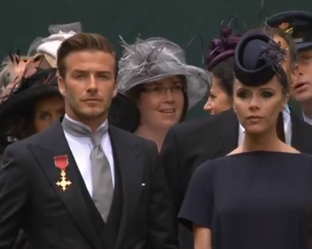 David and Victoria arrive at the Royal Wedding
