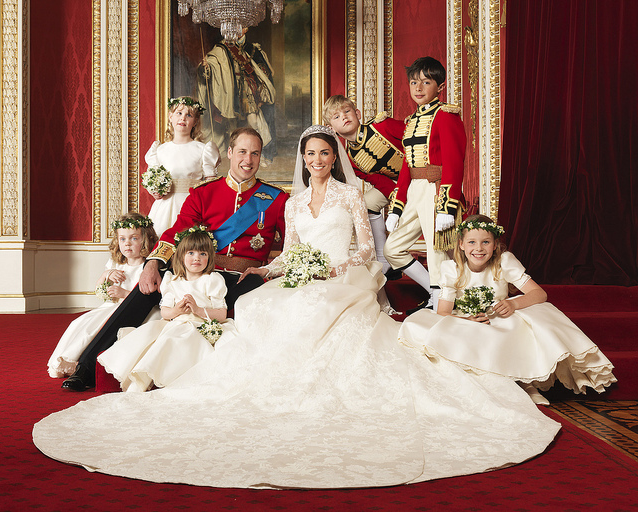 The Bride and Groom, TRH The Duke and Duchess of Cambridge in the centre with attendants - Photograph by Hugo Burnand