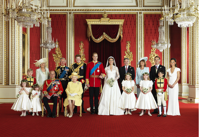 The Royal Wedding Group in the Throne Room at Buckingham Palace on 29th April 2011 with the Bride and Groom, TRH The Duke and Duchess of Cambridge in the centre.