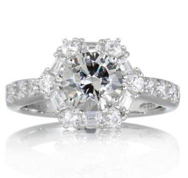 This Diamonique 2.2ct tw Grey Cluster Surround Ring Sterling Silver