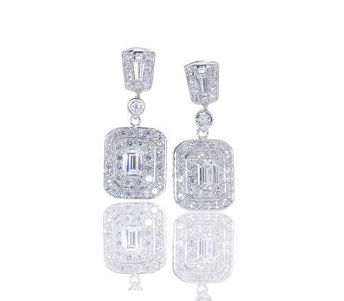 675386 - Diamonique by Tova SS 2.4ct tw Emerald Cut Cluster Earrings