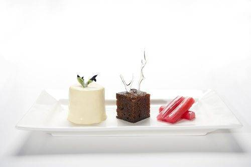 Poached rhubarb, ginger parkin and vanilla panacotta
