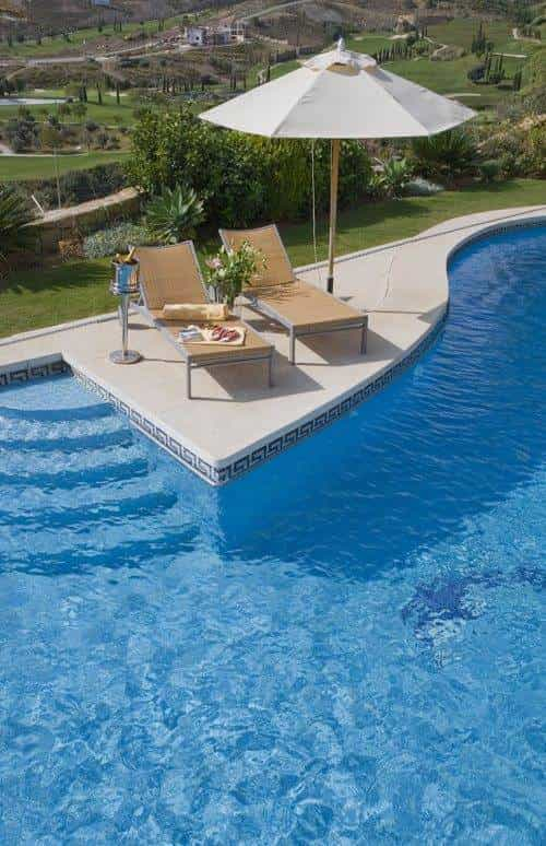 Aerial view of poolside loungers