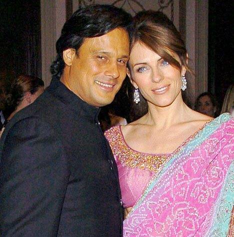 Arun Nayar and Liz Hurley