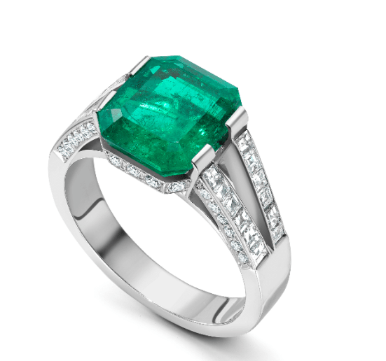 Kim Kardashian: Platinum engagement ring with Columbian octagon Emerald, Soley Fine Jewellery, £35,000