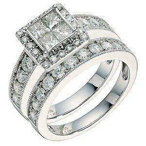 Large square cut diamond ring and matching platinum diamond wedding band from Ernest Jones £4,299