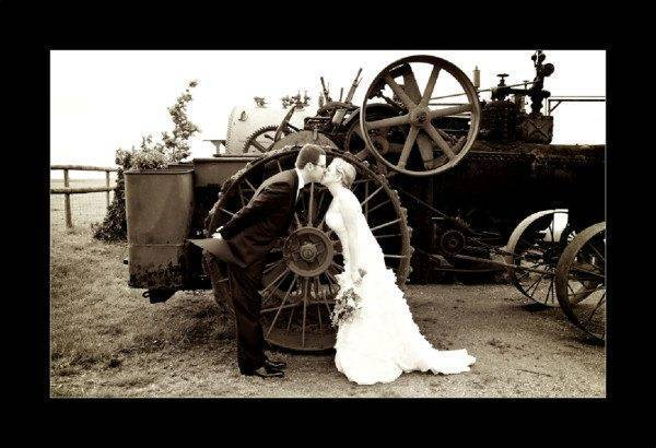 Vintage Weddings the tractor