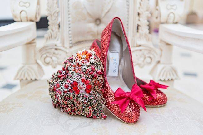 Blenheim Palace - red wedding shoes