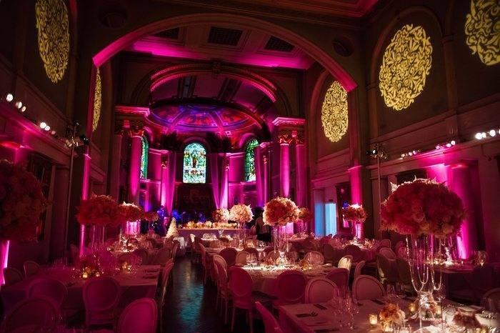 Evening Wedding Reception Pink Lighting