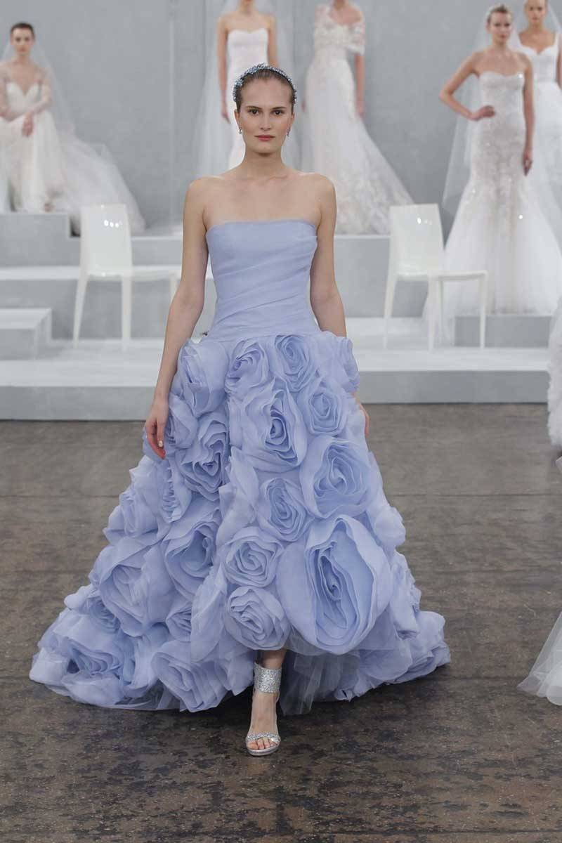 Monique Lhuillier Blue Wedding Gown