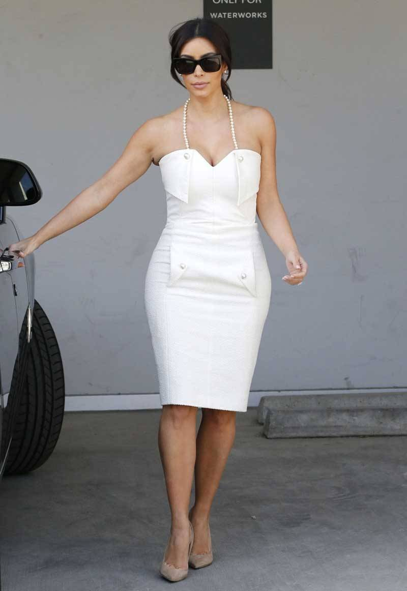 Kim Kardahsian Bridal Shower White Dress