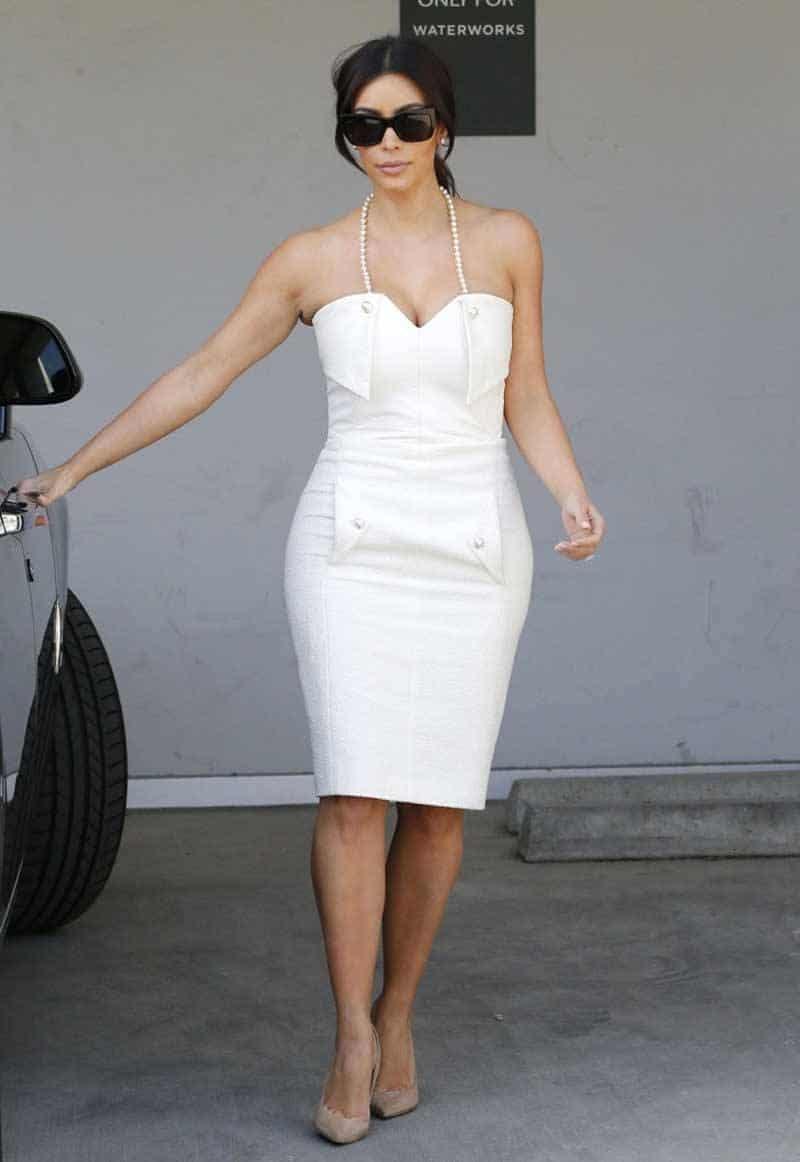 Kim Kardahsian Bridal Shower White Dress