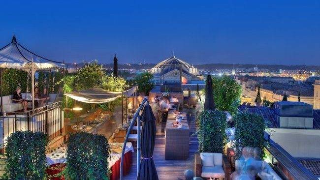 NIGHT BEACH AT THE ROOF TERRACE AT GRAND HOTEL DE BORDEAUX & SPA