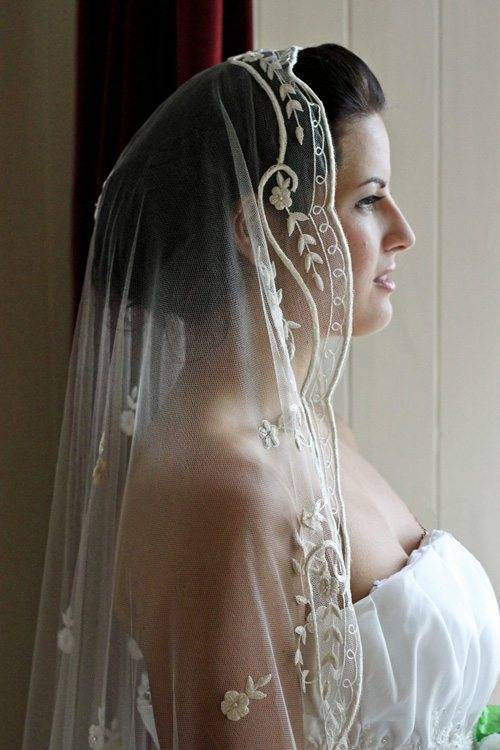 Bespoke Embroidered Silk Wedding Veil