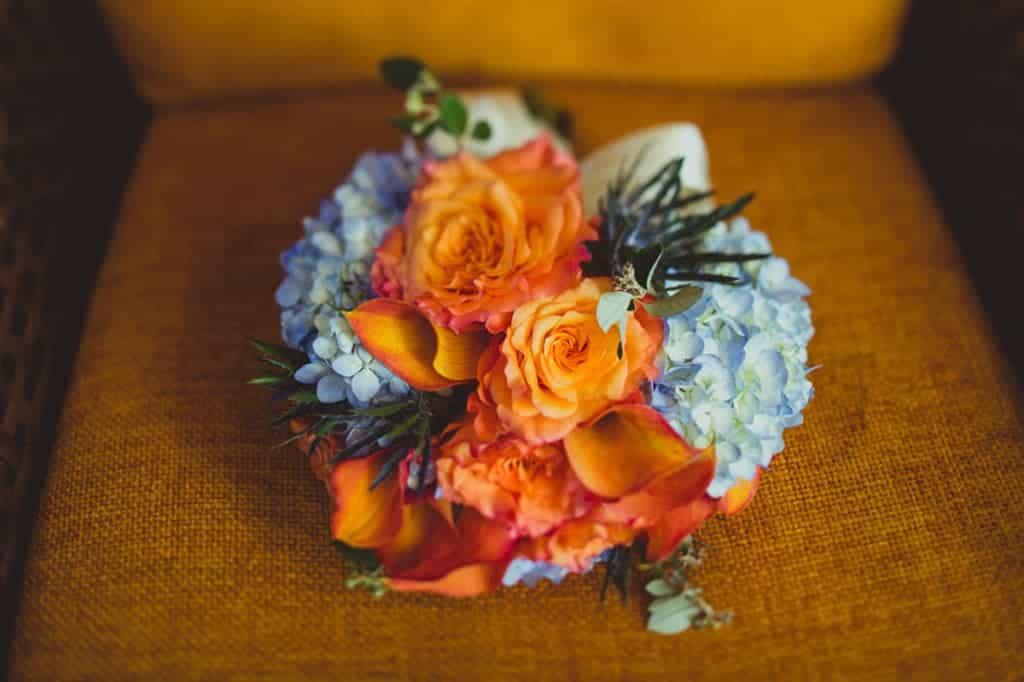 Blue and Orange Bridal Bouquet