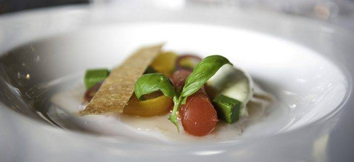 Ceviche of scallop avocado mousse, heirloom tomatoes, basil
