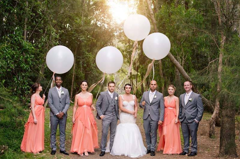 Bridal Party With Balloons