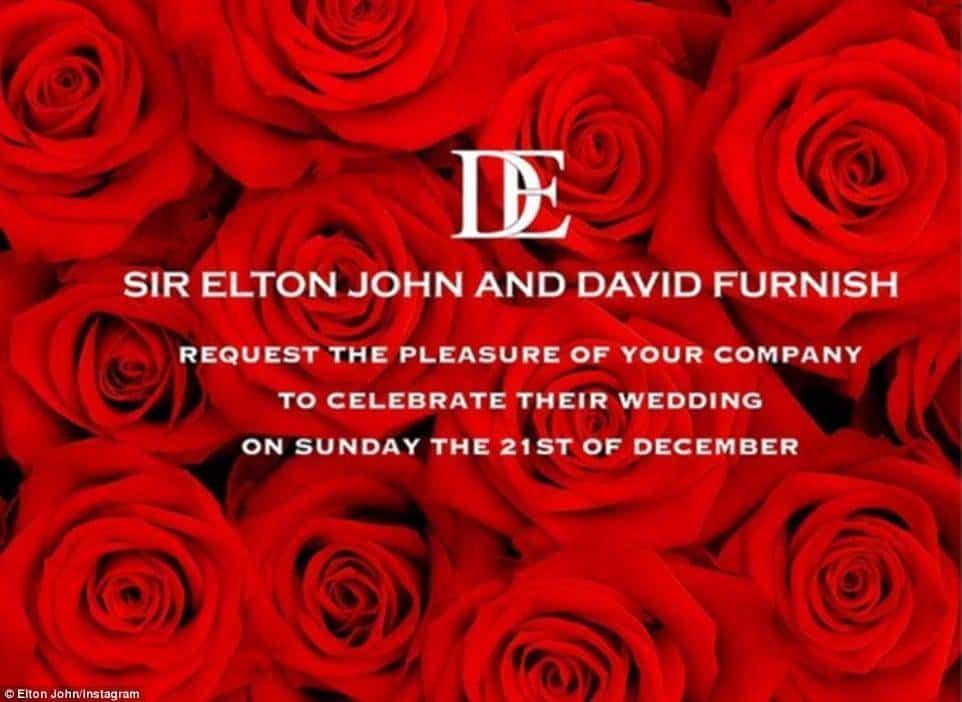 Sir Elton John And David Furnish Wedding Invitation