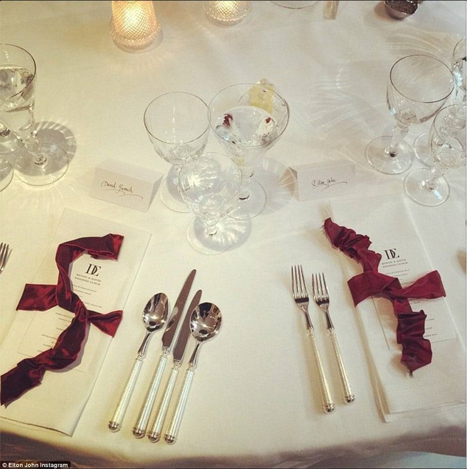 Sir Elton John And David Furnish Wedding Table