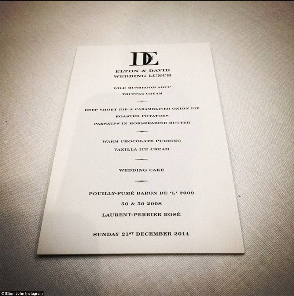 Sir Elton John Wedding Menu