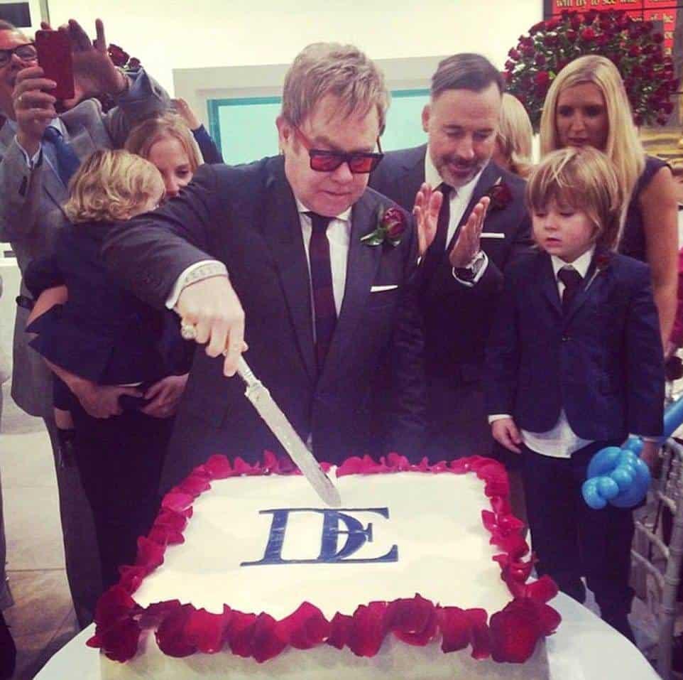 Sir Elton John Cutting His Wedding Cake