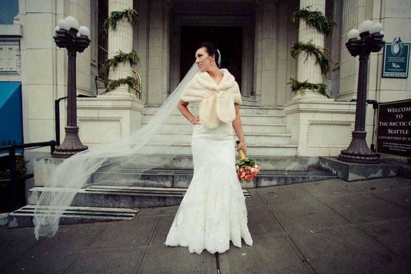 Bride With Fur Shawl