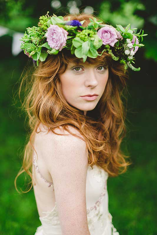 Floral Crown - from £50 www.blueskyflowers.co.uk (Photographer Kirsten Mavric)