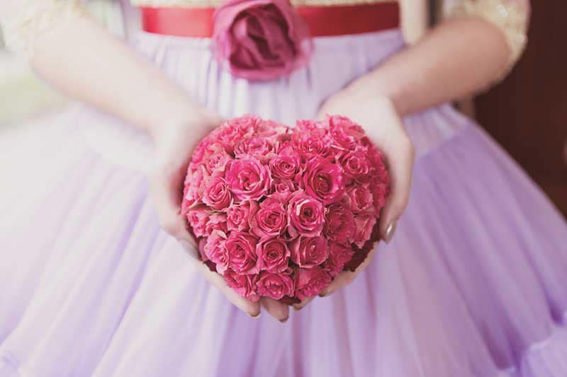 Pink rose heart bouquet - £80 - BlueSkyFlowers.co.uk (Crissi Rossi Photography)