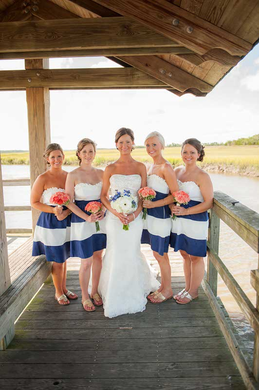 Bridesmaids in blue and white