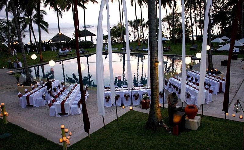 Sunset wedding in Bali coconut grove