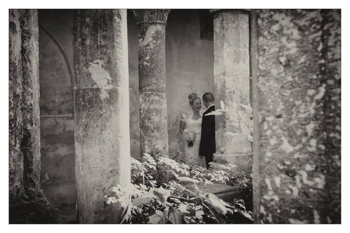 Bride and Groom In Garden in Italy