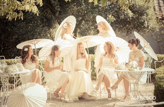 Bridesmaids with parasols