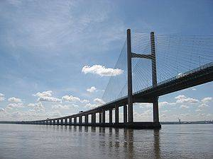 Second Severn Crossing from the water. The bri...