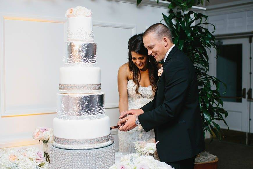 White and Silver Tall Wedding Cake