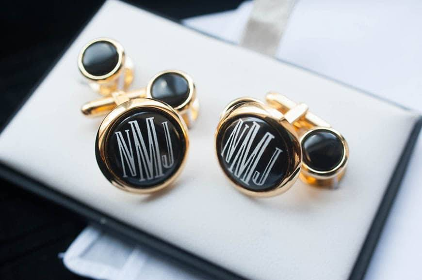Grooms Black and Gold Cuff Links