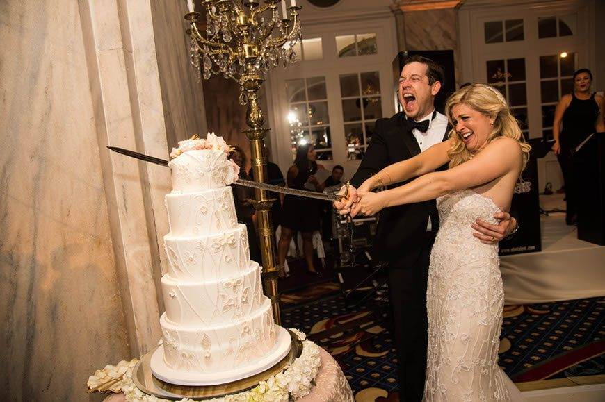 Five Ivory Tier Wedding Cake