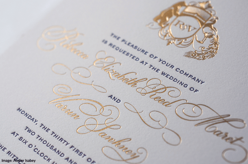 Lasercut Gold Foil Letterpress Wedding Invitations