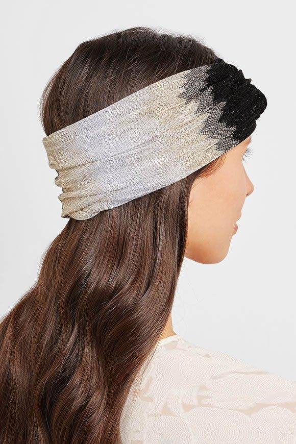 Metallic crochet knit headband from Missoni