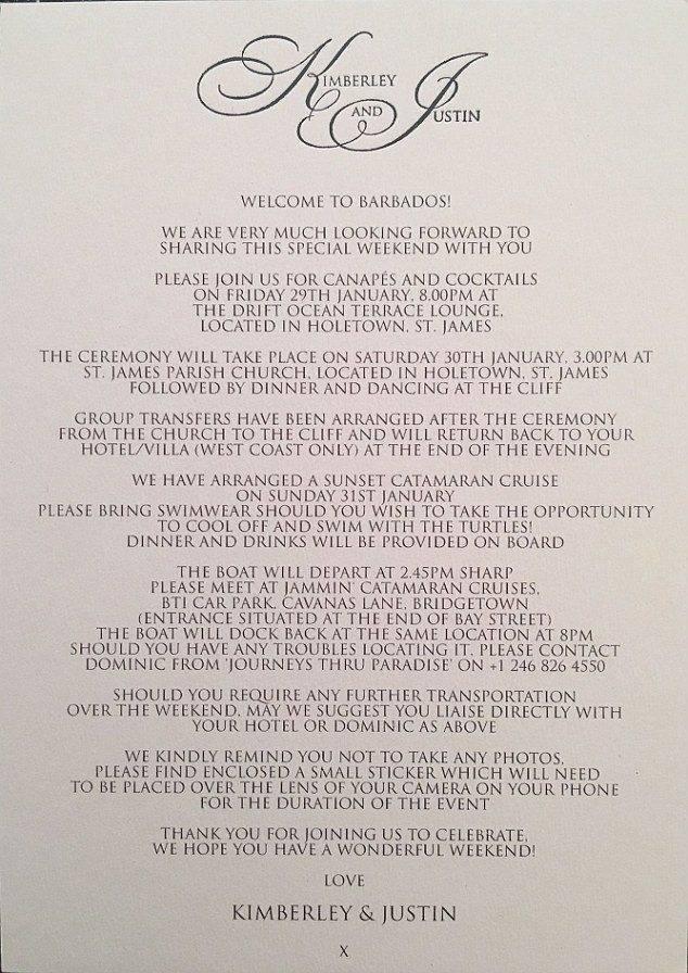 Kimberley Walsh Wedding Invitation