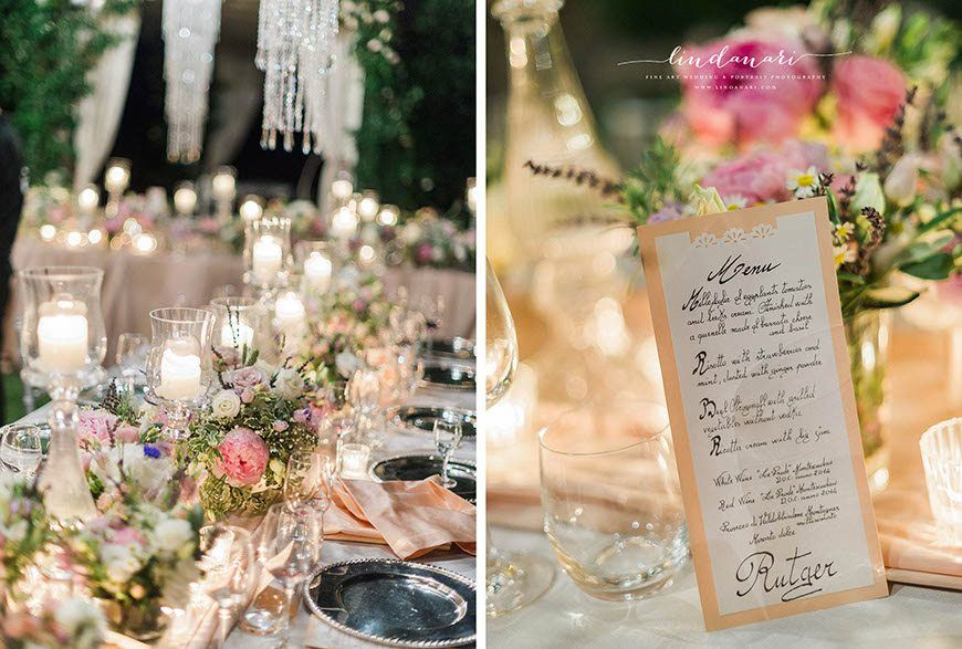 Sparkling chandeliers cascade over the tables for the wedding breakfast, which featured delicious treats such as beef stroganoff and ricotta cream with fig jam. Chef Daniele Fagiolini created the delicious meal.