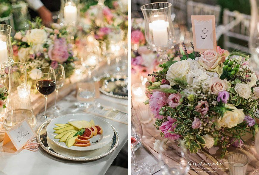 Beautiful floral centrepieces with roses and peonies highlight the white and pink accent colours or the day. Flowers were designed by Wedding and Co.