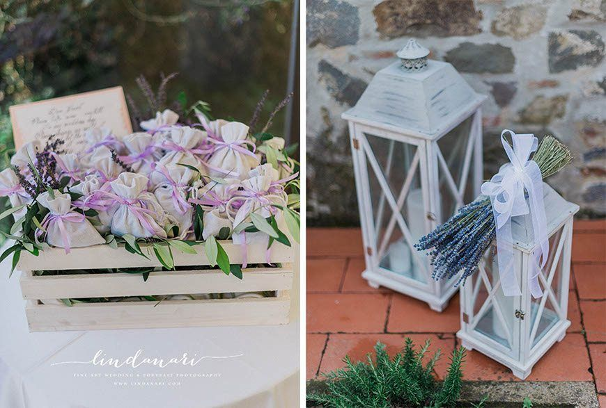 Lavender confetti to perfume the happy couple, while lanterns are ready to light the path to the dancefloor.