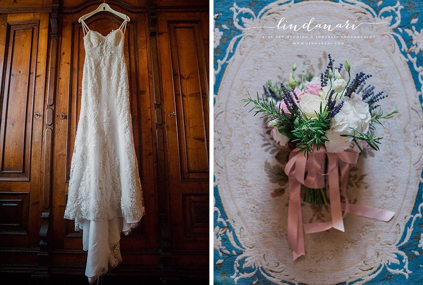 The dress. The bride chose a simple sheath dress with lace overlay, sweetheart neckline and spaghetti straps.