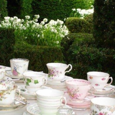 Vintage china set in a beautiful english garden