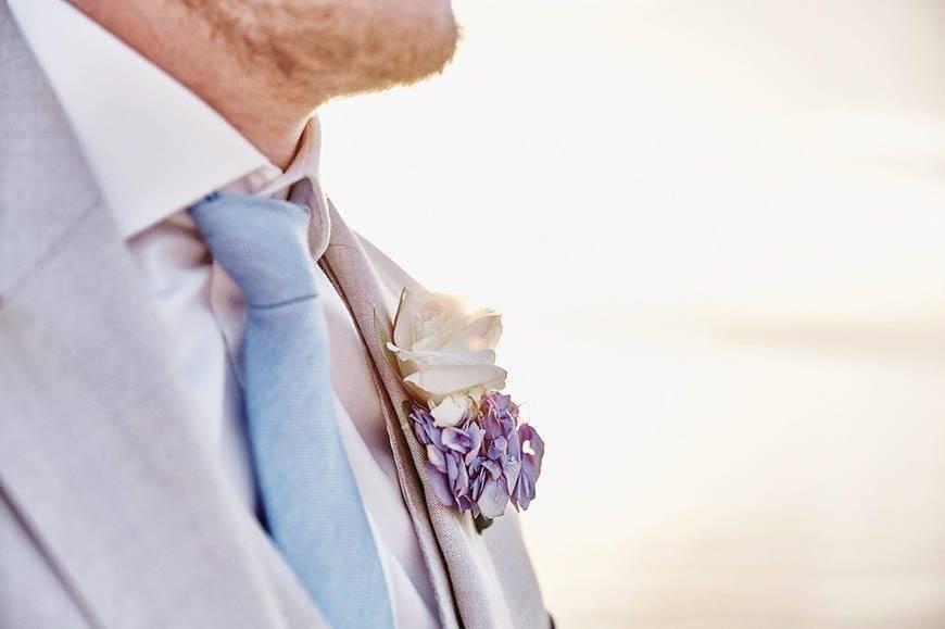 Dream Weddings Mykonos Grooms boutoniere - Luxury Wedding Gallery