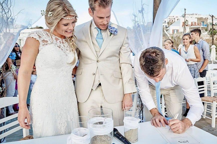 Dream Weddings Mykonos certificate signing - Luxury Wedding Gallery