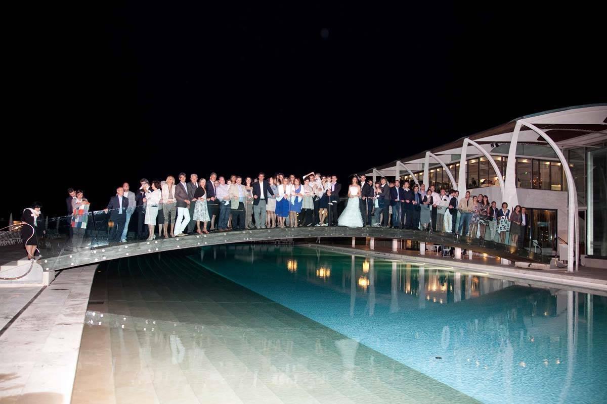 Everybody on the pool bridge - Luxury Wedding Gallery