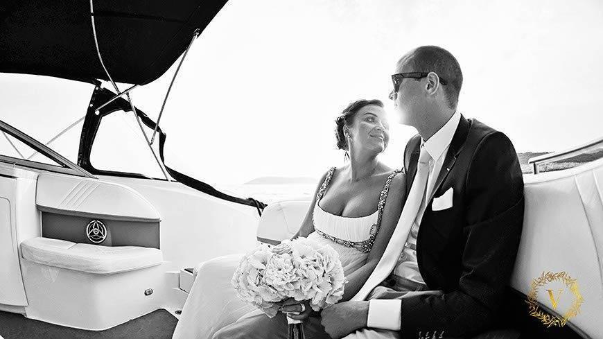 enjoying views during speedboat ride to reception venue in Hvar - Luxury Wedding Gallery
