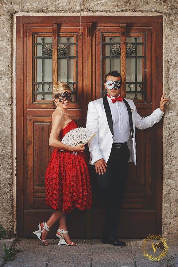 luxury designer red wedding dress wedding in Montenegro - Luxury Wedding Gallery